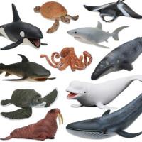 仿真抹香鲸大白鲨海龟海豹鲨鱼蓝鲸模型虎鲸企鹅海洋动物模型玩具