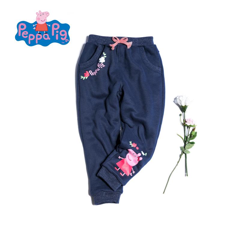 【促】小猪佩奇童装女童冬装冬季新款加厚加绒卫裤长裤裤子