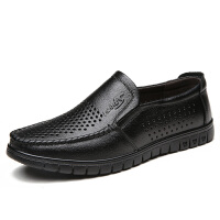 真牛皮爸爸鞋中年男鞋休闲男士皮鞋夏季透气防滑老人夏天单鞋 603 黑色 镂空款