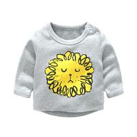 婴儿衣服上衣春秋春款6-12个月3宝宝T恤圆领0套头长袖纯棉卡通1岁