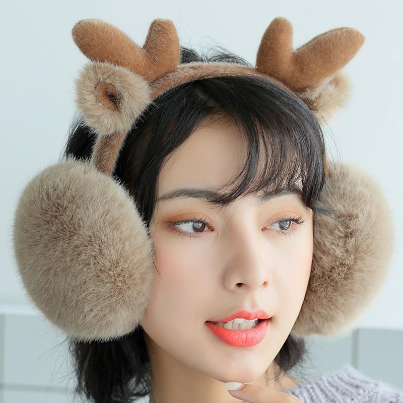 冬季保暖耳罩女士耳套卡通鹿精灵耳捂折叠圣诞可爱耳暖耳包毛绒冬 鹿精灵卡通保暖防寒圣诞