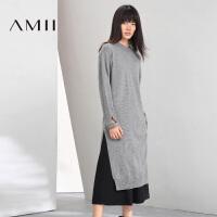 【双十一特价福利款】AMII[极简主义]冬新圆领直筒纯色混纺长款针织连衣裙11683450