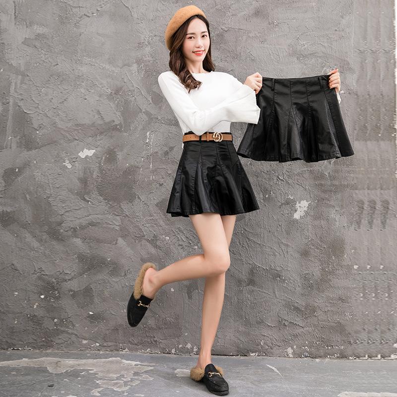 半身裙秋冬女2018新款黑色皮裙高腰chic短裙矮个子娇小a字裙伞裙 黑色  本产品为促销产品,限购一件,未经过客服同意,私自大量下单的一律不发货,并且不作为