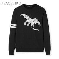 太平鸟男装 冬季新款黑色龙形图案个性毛衣韩版圆领毛衫B1EB74516