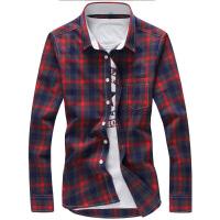 男士韩版修身加绒加厚休闲长袖衬衫四色格子大码长袖衬衣衬衫