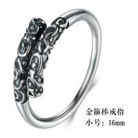 S925紧箍咒戒指男士女银情侣对戒潮人复古金箍棒尾戒指环
