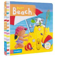 Busy Beach 忙碌 busy 系列纸板书 海滩 机关操作书3-6岁 互动英语故事绘本 儿童英文原版进口图书