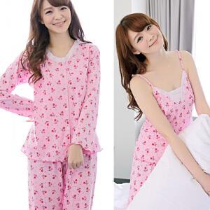 货到付款 Yinbeler三件套 精梳针织棉 樱桃蕾丝长袖吊带长裤可爱女生利发国际lifa88服套装