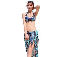 游泳衣女三件套 比基尼 性感小胸聚拢钢托大胸泳装