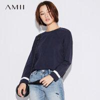 Amii极简原宿风印花长袖T恤女2018秋季新款弹力百搭条纹宽松上衣