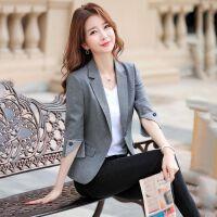 西装外套女韩版2019春夏装修身七分袖休闲短款百搭小西服