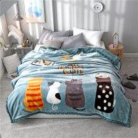 拉舍尔毛毯被子珊瑚绒毯子冬季法兰绒加厚保暖单人宿舍学生铺床