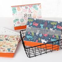 2019年可爱小清新韩版卡通动物台历手绘记事带农历贴纸日历
