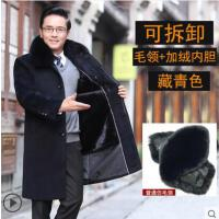 爸爸冬�b外套羊毛呢子�L款加�q加厚�L衣冬季中老年人毛呢大衣男士