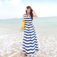 温暖时光海边裙子沙滩裙大码波西米亚长裙条纹雪纺连衣裙夏海军风