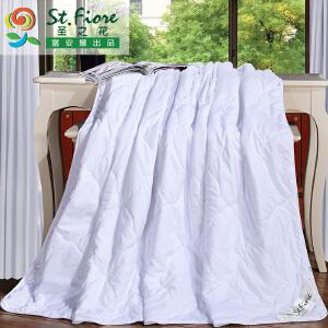 [当当自营]富安娜空调被夏凉被单双人夏季纯棉被子被芯可水洗宿舍被褥��被 妍妍空调被 花吻 白色1.8m(230*229cm)