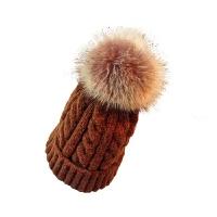 帽子女冬季保暖韩版针织毛线帽毛球百搭套头帽学生休闲护耳冷帽潮 M(56-58cm)