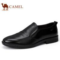 camel 骆驼男鞋秋冬新品商务正装低帮鞋真皮套脚男士皮鞋子