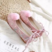 古装鞋白汉服鞋子老北京布鞋民族风淑女系带平底坡跟绣花鞋女潮