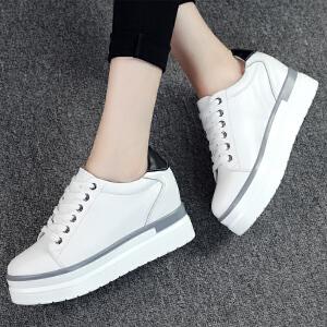 ZHR2018春季新款韩版真皮小白鞋内增高女鞋休闲鞋平底单鞋B15