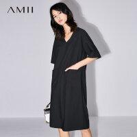 【满200减100上不封顶】Amii[极简主义]2018夏新V领落肩袖配腰带中长连衣裙