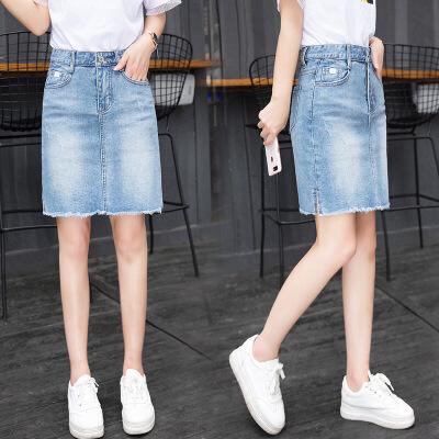 牛仔半身裙夏女2018新款包臂裙A字裙毛边百搭宽松显瘦高腰一步裙 蓝色