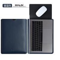 苹果笔记本真皮内胆包macbook12air13.3寸pro15电脑包mac13保护套 【真皮】深蓝色-可做鼠标垫