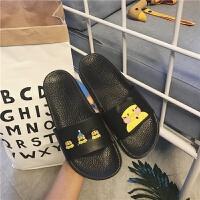 2019年夏季韩国可爱卡通玻尿酸鸭拖鞋女居家用室内塑料浴室防滑凉拖鞋子新品女鞋街拍时装鞋一字露趾凉鞋