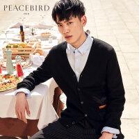 太平鸟男装秋新款黑色仙鹤刺绣毛开衫外套韩版时尚羊毛针织衫毛衣