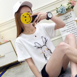 2018新品夏装韩国宽松显瘦女上衣T恤韩范印花短袖T恤