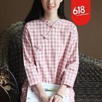 原创文艺复古中式旗袍森女宽松大码纯棉格子连衣裙长裙女春GH073