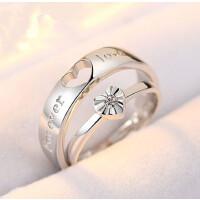 925银情侣戒指韩版女爱心开口对戒银饰男一对价创意戒指
