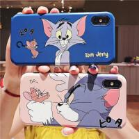 可爱趣味复古漫画猫和老鼠苹果x/xs max/xr手机壳情侣苹果8/7/6splus全包 X/Xs 蓝色IMD 猫和老