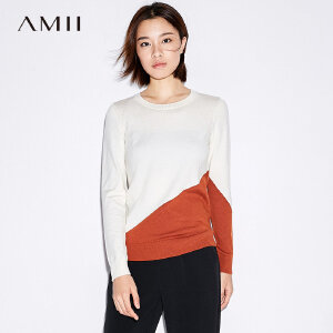 Amii[极简主义] 2017秋装新款修身圆领撞色拼接休闲毛衣11744145