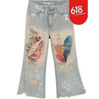 前后破洞牛仔裤女显瘦九分裤2018夏季新款时尚烫金彩绘宽腿微喇裤GH107 浅蓝