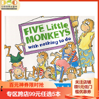 英文原版绘本 Five Little Monkeys with Nothing to Do五只小猴子无事可做 廖彩杏绘