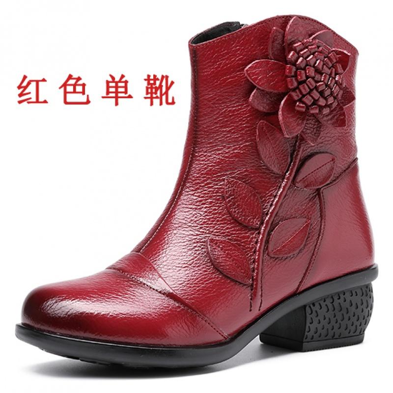 舒适好看!时尚新品秋冬季民族风女靴真皮靴子中跟粗跟圆头短筒棉靴手工单靴短靴女鞋青春靓丽