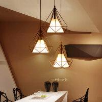 御目 吊灯 北欧现代简约餐厅卧室客厅吊灯创意三头loft灯led节能灯具艺术钻石铁艺吧台个性 创意灯具
