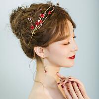 红色新娘头饰敬酒服礼服结婚饰品发箍复古发饰套装