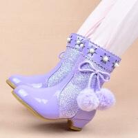 冰雪奇缘公主靴女童高跟靴子小孩冬天棉鞋韩版单靴儿童短靴马丁靴