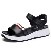 夏季新款简约平底韩版百搭坡跟时尚学生厚底中跟孕妇凉鞋女鞋