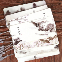 烟雨江南中国风复古书签流苏 学生纸质卡片礼物 古风古典创意 文具