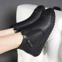 秋冬靴子女士2019新款皮面短靴妈妈鞋短筒平底加绒雪地靴女冬保暖