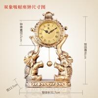 欧式钟表座钟台钟客厅创意桌面摆件 大象时钟复古大号简约石英钟