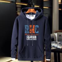 男加绒连帽卫衣 加大码纯棉加厚保暖外套 青少年学生嘻哈胖子帽衫 深蓝RMC M