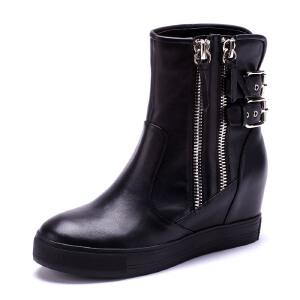 【3折到手价149.7元】St&Sat/星期六 高跟牛皮流苏女靴短靴SS44112277