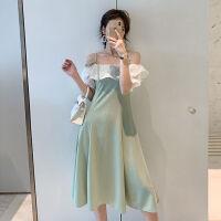 抹茶绿仙女超仙吊带连衣裙2019夏牛油果色性感显瘦一字肩裙子