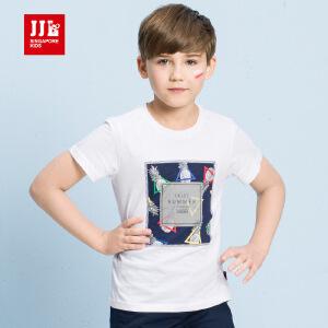 季季乐男童装6纯棉T恤2017夏新款时尚潮8中大儿童16岁男孩短袖BXT71012