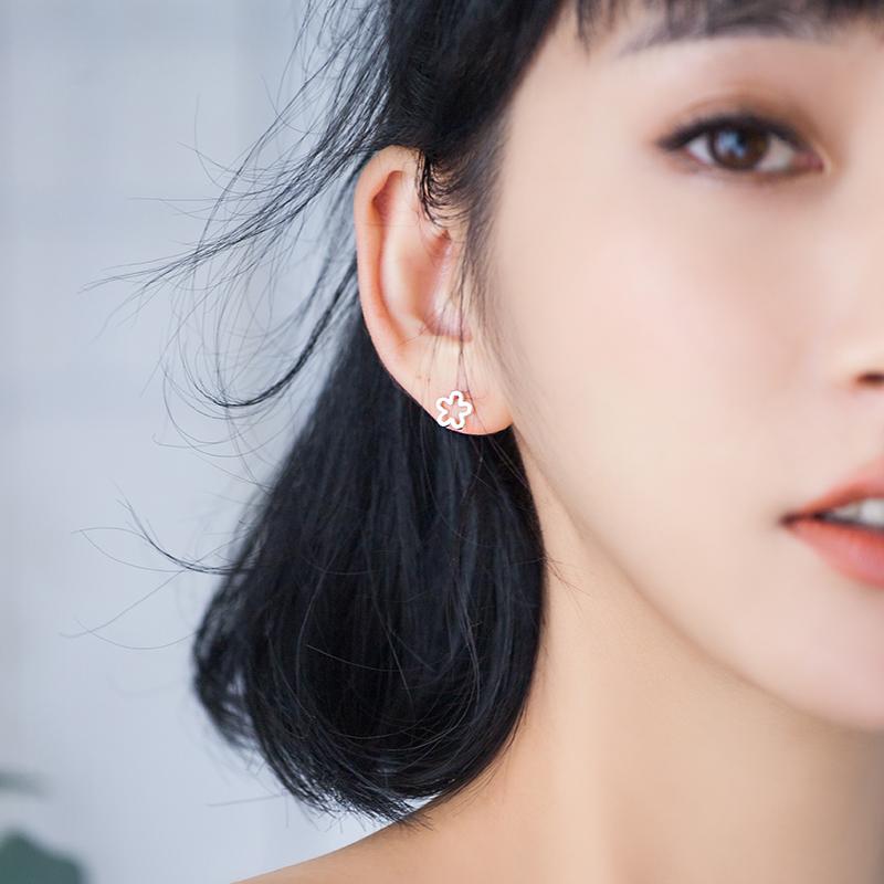 纯银耳钉女气质韩国个性创意简约迷你花朵耳饰品