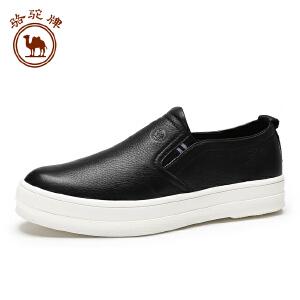 骆驼牌男鞋 牛皮休闲鞋套脚舒适日常休闲男士皮鞋 新品